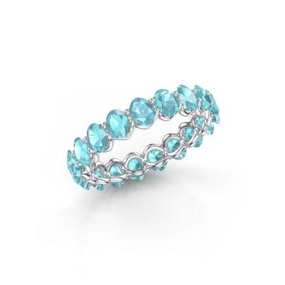 Ring Kirsten OVL 4x3 585 witgoud blauw topaas 4x3 mm