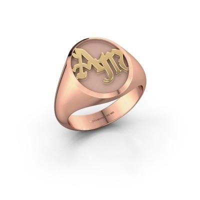 Foto van Monogram ring Brad 585 rosé goud