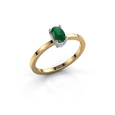 Foto van Ring Lynelle 1 585 goud smaragd 6x4 mm