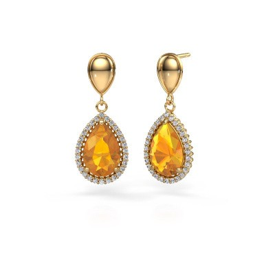 Pendants d'oreilles Tilly per 1 585 or jaune citrine 12x8 mm