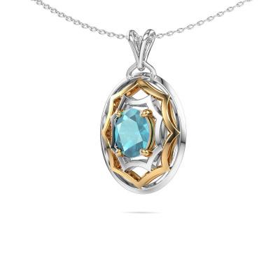 Bild von Halskette Evangelina 585 Gold Blau Topas 8x6 mm