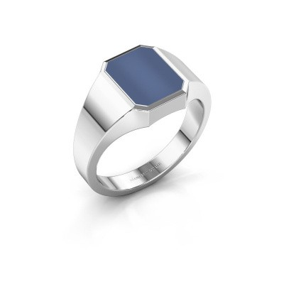 Zegelring Glenn 1 375 witgoud blauw lagensteen 10x8 mm