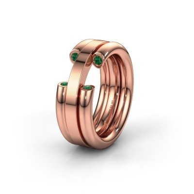 Wedding ring WH6018L 585 rose gold emerald ±8x3 mm
