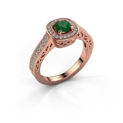 Verlovings ring Candi 375 rosé goud smaragd 5 mm