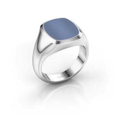 Foto van Zegelring Benjamin 3 375 witgoud licht blauwe lagensteen 14x12 mm
