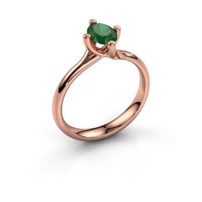 Verlobungsring Dewi Oval 585 Roségold Smaragd 7x5 mm