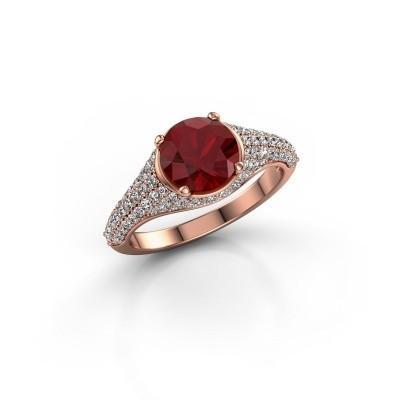 Foto van Ring Lovella 375 rosé goud robijn 7 mm