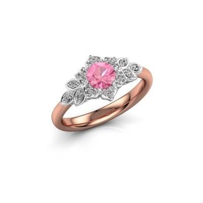 Foto van Verlovingsring Tatjana 585 rosé goud roze saffier 5 mm