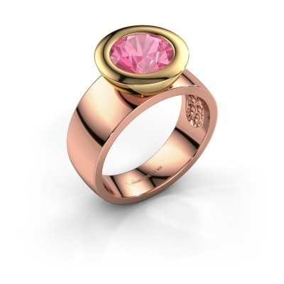 Bague Maxime 585 or rose saphir rose 8 mm
