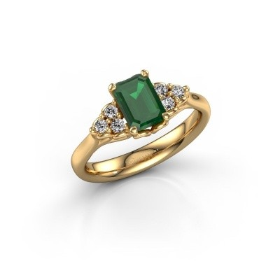 Foto van Aanzoeksring Myrna EME 375 goud smaragd 7x5 mm