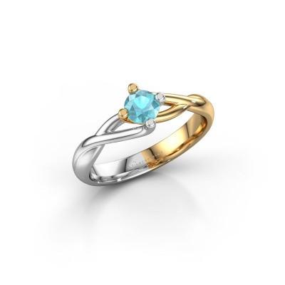 Foto van Ring Paulien 585 goud blauw topaas 4.2 mm