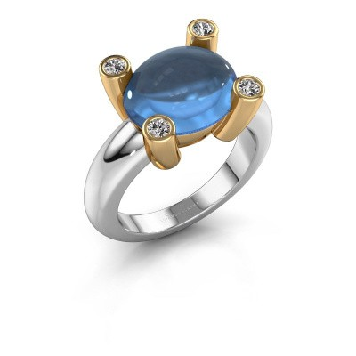 Bague Janice OVL 585 or blanc topaze bleue 12x10 mm