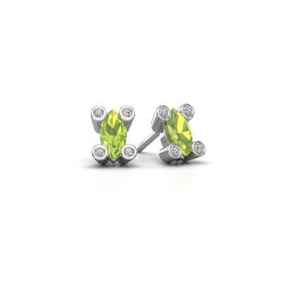 Picture of Stud earrings Cornelia Marquis 925 silver peridot 7x3 mm
