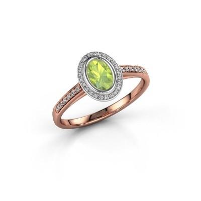 Engagement ring Noud 2 OVL 585 rose gold peridot 6x4 mm