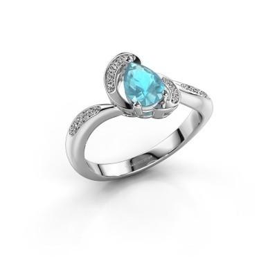 Foto van Ring Jonelle 950 platina blauw topaas 7x5 mm