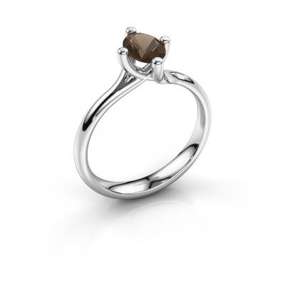 Engagement ring Dewi Oval 950 platinum smokey quartz 7x5 mm