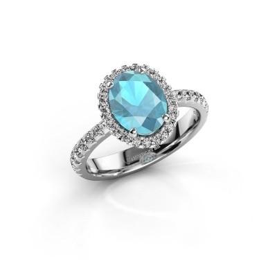 Foto van Verlovingsring Lavelle 925 zilver blauw topaas 9x7 mm
