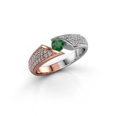 Foto van Ring Hojalien 3 585 rosé goud smaragd 4 mm