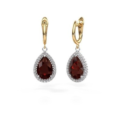 Picture of Drop earrings Hana 1 585 white gold garnet 12x8 mm