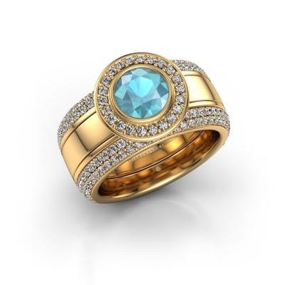 Foto van Ring Roxie 585 goud blauw topaas 6.5 mm