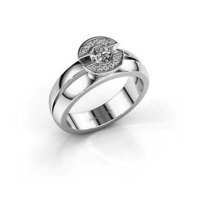 Ring Jeanet 1 585 witgoud zirkonia 4 mm