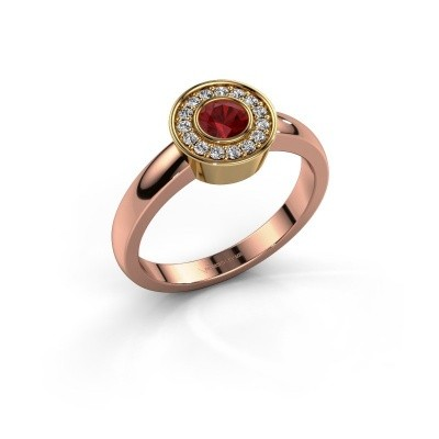 Ring Adriana 1 585 rosé goud robijn 4 mm