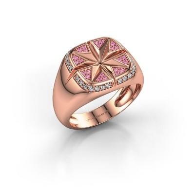 Heren ring Ravi 375 rosé goud roze saffier 1 mm