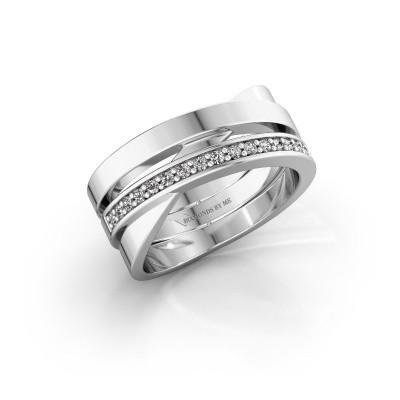 Ring Yolando 585 witgoud zirkonia 1.3 mm