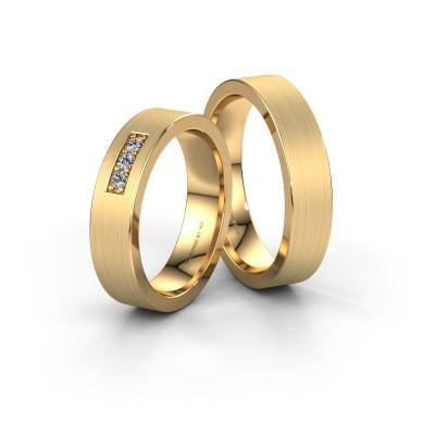 Trouwringen set WH0110LM15BM ±5x2 mm 14 karaat goud diamant 0.045 crt
