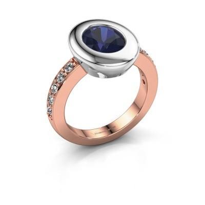 Foto van Ring Selene 2 585 rosé goud saffier 9x7 mm
