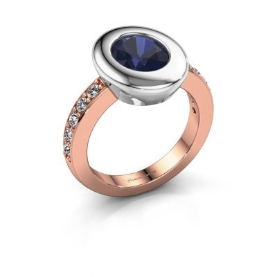 Ring Selene 2 585 rosé goud saffier 9x7 mm