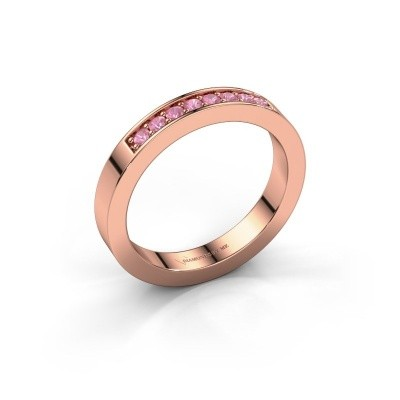 Stackable ring Loes 5 375 rose gold pink sapphire 1.7 mm