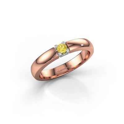 Foto van Verlovingsring Rianne 1 585 rosé goud gele saffier 3 mm