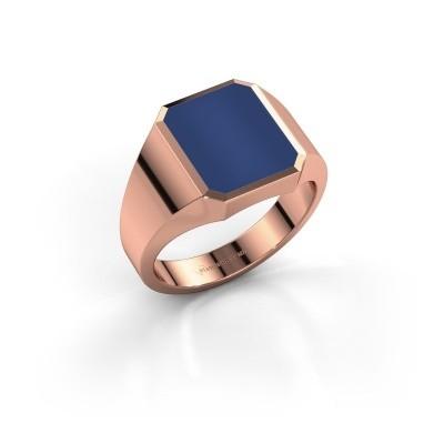Foto van Zegelring Lars 2 375 rosé goud lapis lazuli 12x10 mm