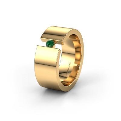 Trouwring WH0146L18BP 375 goud smaragd ±8x2 mm