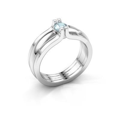 Foto van Ring Jade 925 zilver aquamarijn 4 mm