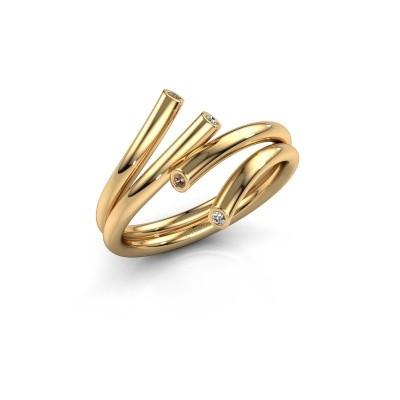 Foto van Ring Siewke 585 goud bruine diamant 0.048 crt