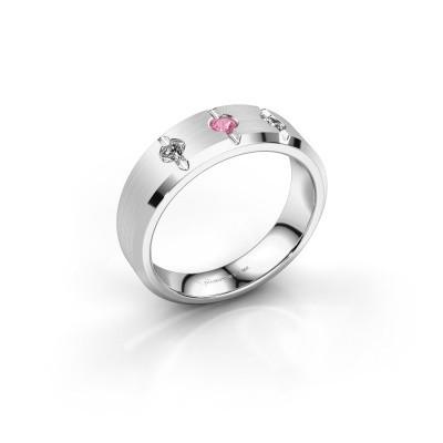 Foto van Heren ring Remco 925 zilver roze saffier 2.7 mm