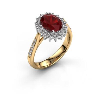 Verlovingsring Margien 2 585 goud robijn 7x5 mm