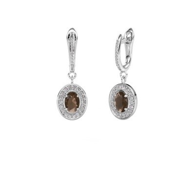 Picture of Drop earrings Layne 2 950 platinum smokey quartz 7x5 mm