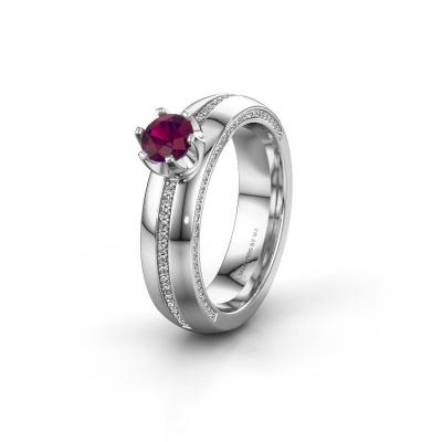 Huwelijksring WH0416L25E 925 zilver rhodoliet ±5x2.6 mm