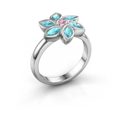 Ring Amina 925 silver pink sapphire 2 mm