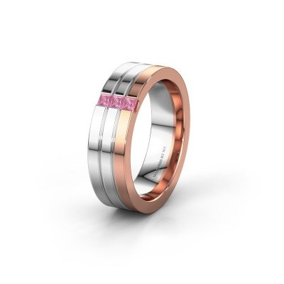 Wedding ring WH0428L16BP 585 rose gold pink sapphire ±6x2 mm
