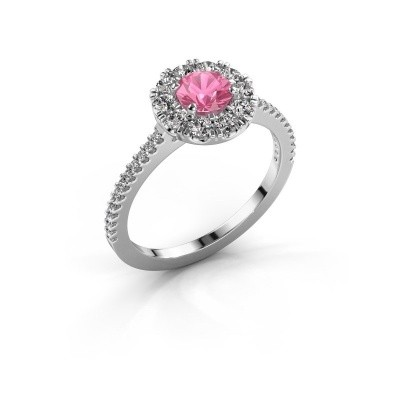 Verlovingsring Misti 2 585 witgoud roze saffier 5 mm