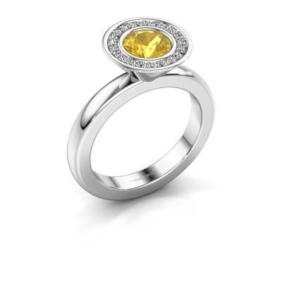 Stapelring Danille 925 zilver gele saffier 6 mm