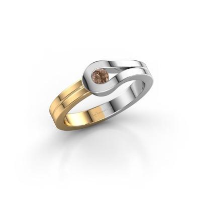Bague Kiki 585 or blanc diamant brun 0.10 crt