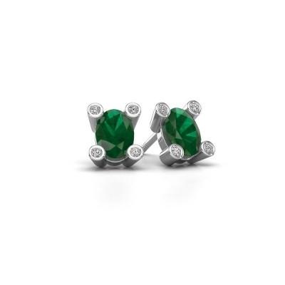 Picture of Stud earrings Cornelia Oval 925 silver emerald 7x5 mm