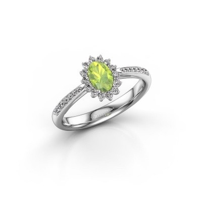 Picture of Engagement ring Tilly 2 585 white gold peridot 6x4 mm