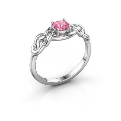 Foto van Ring Zoe 585 witgoud roze saffier 5 mm