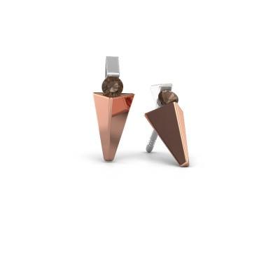 Oorbellen Corina 585 rosé goud rookkwarts 3 mm